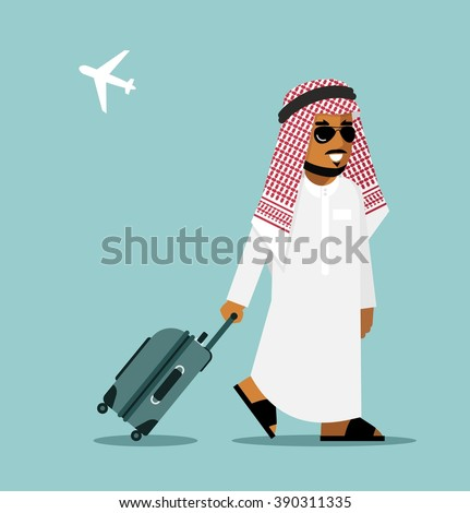 Arab man in travel concept . Young saudi arabic man in traditional clothes walking with suitcase on airport background - stock vector