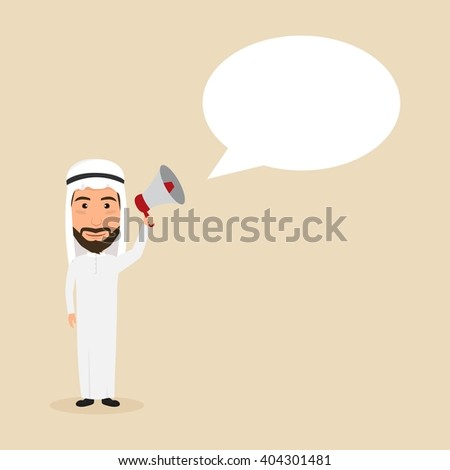Arab man with microphone and bubble speech. - stock vector