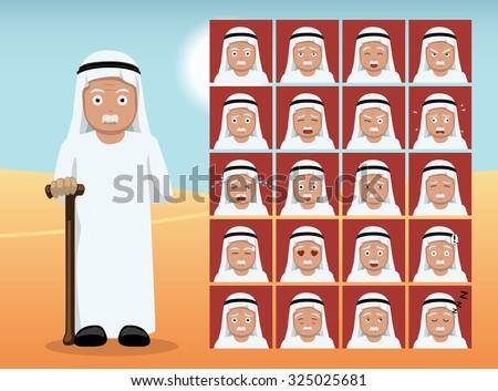 Arab Old Man Cartoon Emotion faces Vector Illustration - stock vector