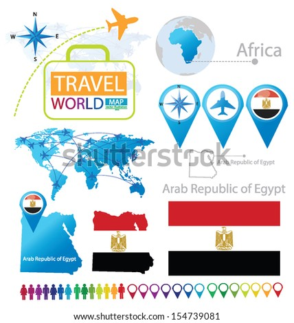 Arab Republic of Egypt. flag. World Map. Travel vector Illustration. - stock vector