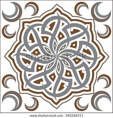 Arabesque Floral Ornamental Tile Grey And Bronze - stock vector