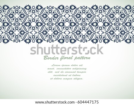 Arabesque Vintage Seamless Border Elegant Floral Stock Vector ...