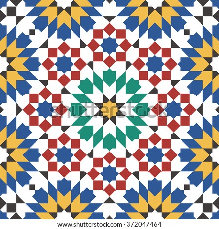 seamless Pattern Moroccan Style Mosaic Tile Stock Vector HD (Royalty ...