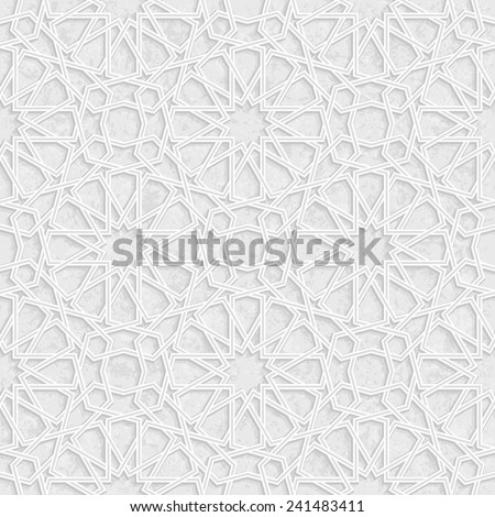 Arabesque Star Pattern with Grunge Light Grey Background, Vector Illustration - stock vector