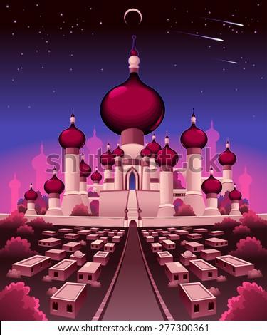 Arabian castle in the night, vector illustration - stock vector