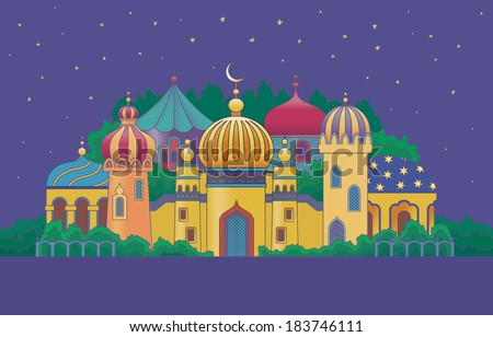 Arabian city with character buildings at the night - stock vector