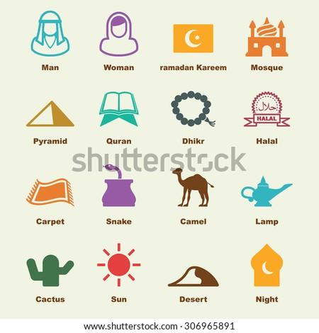 arabian elements, vector infographic icons - stock vector
