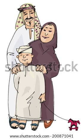 arabian family - cartoon - stock vector