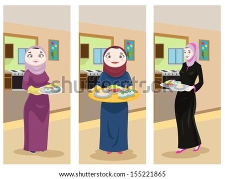 Arabian Ladies Preparing Food - stock vector