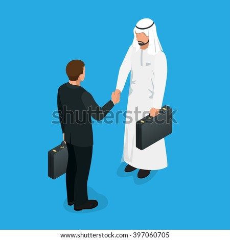 Arabian partners handshake concept. Business deal handshake with Arabic and European ethnic mans. Flat 3d vector isometric illustration. - stock vector