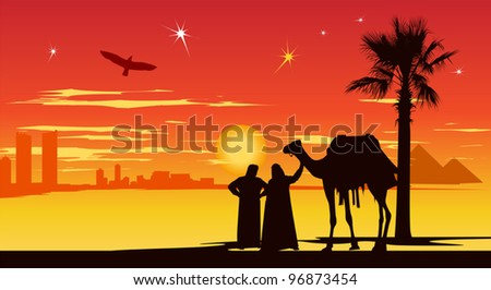Arabian people stand whit camel on the city buildings and pyramids background