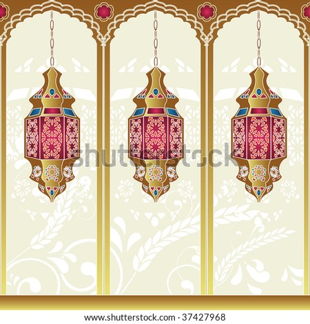 Arabian style lighting lamps. Vector illustration. - stock vector