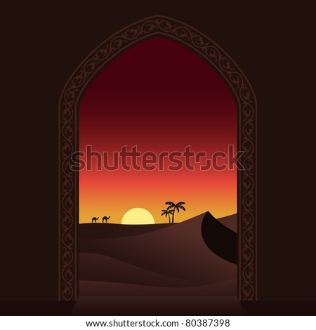 Arabian sunset. Vector illustration. - stock vector