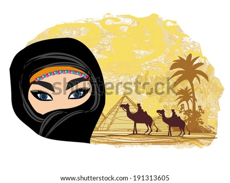Arabian woman in the desert  - stock vector