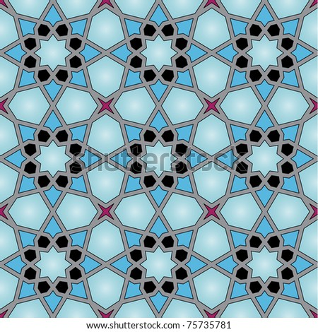 Arabic background with flowers and triangles - stock vector