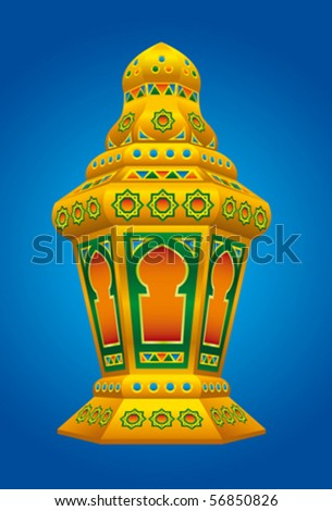 Arabic colorfull Lantern for Ramadan and Eid - stock vector