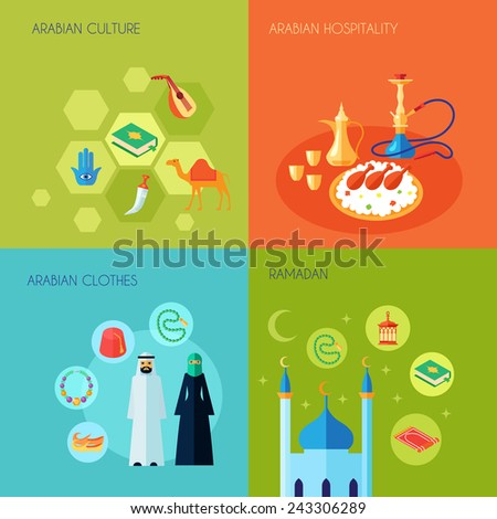 Arabic culture design concept set with hospitality clothes and ramadan flat icons set isolated vector illustration - stock vector