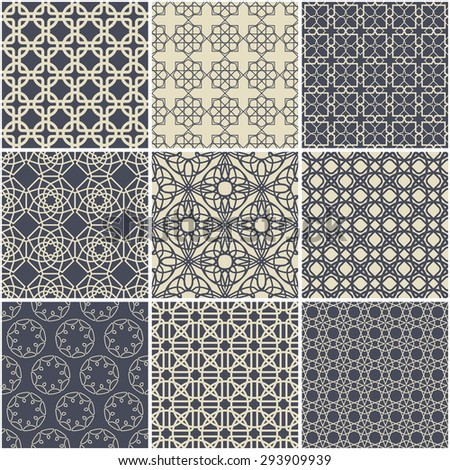 Arabic decorative set: 9 seamless patterns