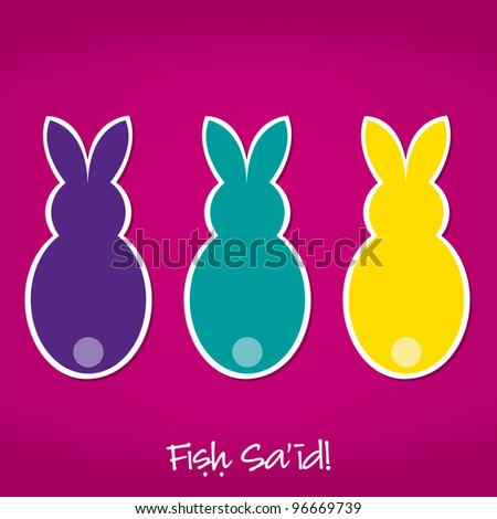 Arabic Easter Bunny card in vector format. - stock vector