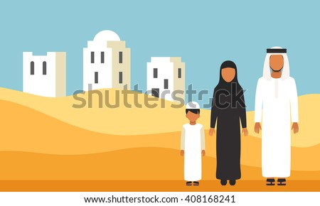 Arabic Family in traditional clothes in desert dunes - stock vector