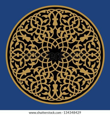 Arabic Floral Ornament. Traditional Islamic Design. Mosque decoration element ocher, black on blue - stock vector