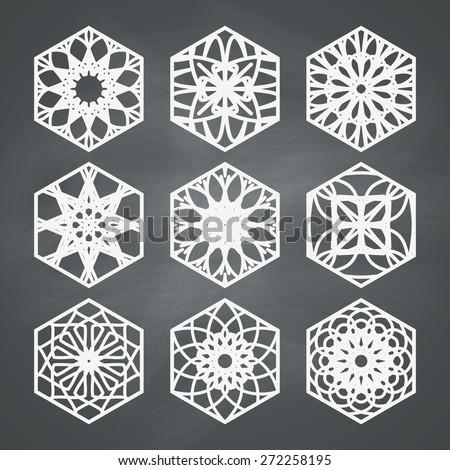 Ornament set vector symbols collection on chalkboard background