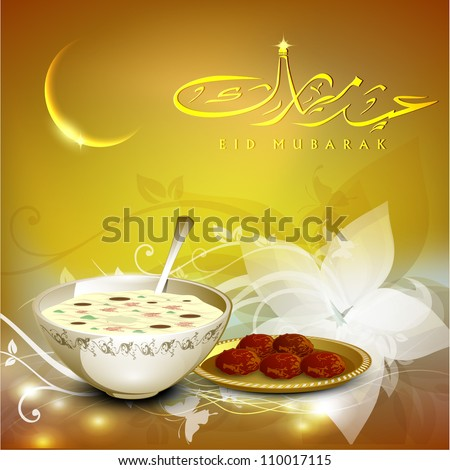 Arabic Islamic calligraphy of golden text Eid Mubarak with golden moon and sweets  on beautiful background for Eid festival. EPS 10. - stock vector