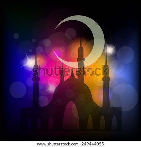 Arabic Islamic. Ramadan Kareem with view of mosque in shiny moonlight night. - stock vector