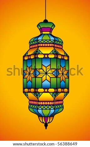 Arabic lantern for Ramadan Kareem and Eid Mubarak - stock vector