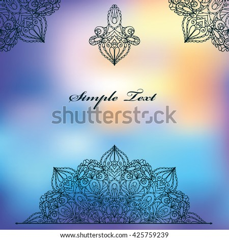 Arabic Mandala pattern,background.Vintage decorative ornament. East,Islam,Indian,motifs.Ethnic texture.Orient,symmetry Arabic lace,fabric,blurred bokeh wallpaper.Wedding,holiday colored ornament card - stock vector