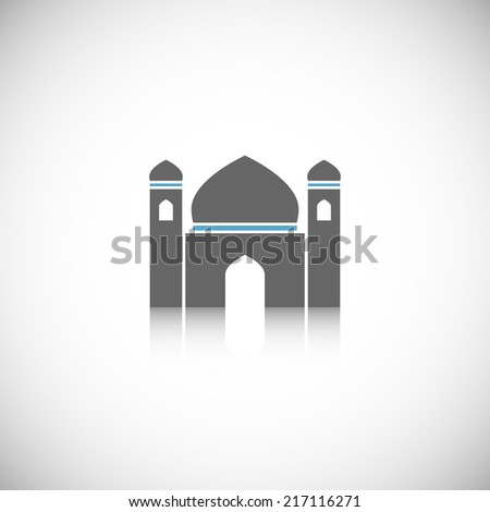 Arabic mosque traditional building icon isolated on white background vector illustration - stock vector