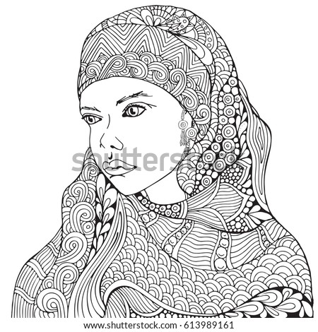 Arabic Muslim Woman Hijab Coloring Book Page For Adult Black And White
