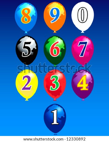 Arabic numbers decimal system with colored balloons - stock vector