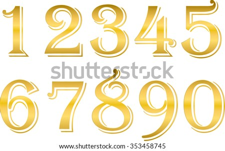 Arabic numbers metal gold, on a white background, from one to ten, math, vector - stock vector