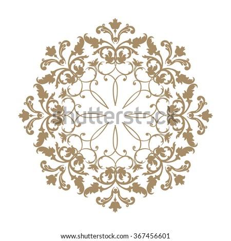 Arabic ornament background Oriental ethnic mandala amulet Abstract floral geometric pattern Geometric circle element for holiday, kaleidoscope, medallion, yoga, indian, arabic design - stock vector
