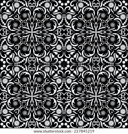 Arabic style black and white seamless pattern, EPS8 - vector graphics.