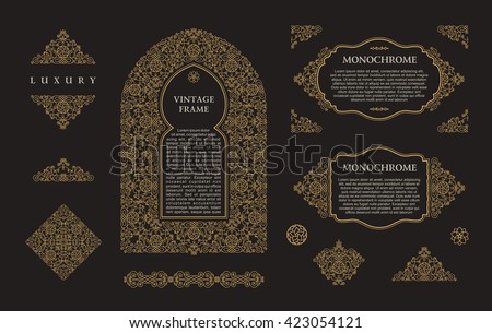 Arabic vector set of frames and lines of art design template. Muslim gold outline elements and emblems. Eastern floral frame. Logos line pattern for menu, postcard, restaurant, wedding invitation - stock vector
