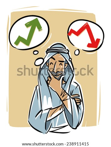 Arabic young man thinking about trading course - stock vector