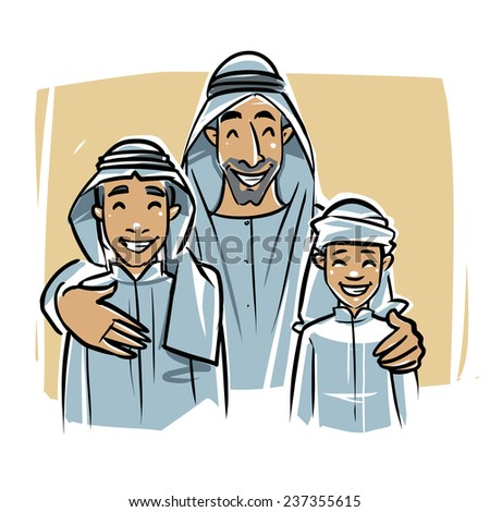 Arabic young men with family - stock vector