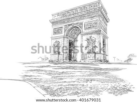 Arc de Triomphe Paris France, hand-drawing. Vector illustration. - stock vector
