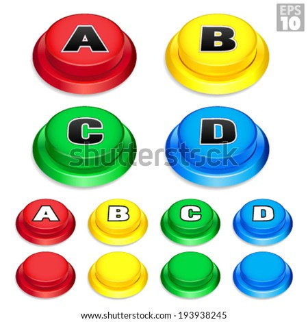 Arcade Buttons In Red, Yellow, Green, and Blue Colors For Retro Games. - stock vector