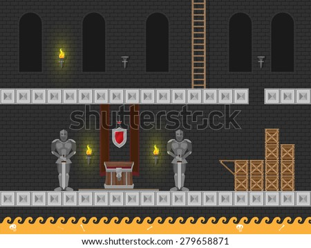 Arcade computer game level in medieval dungeon with treasures, knights, hot lava and more  - stock vector