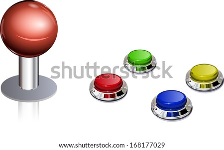 Arcade game vintage color controls, fully editable vector, layered - stock vector