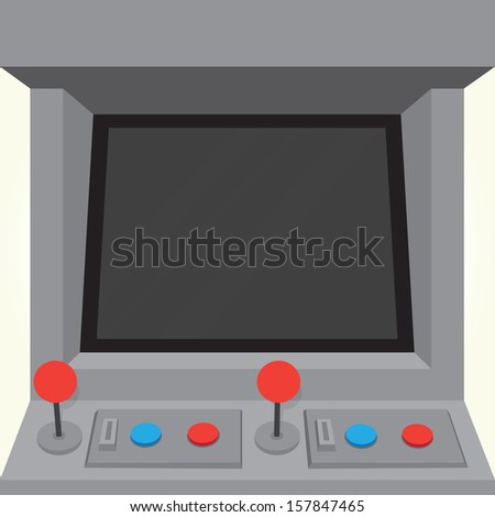 Arcade machine game cabinet isolated vector - stock vector