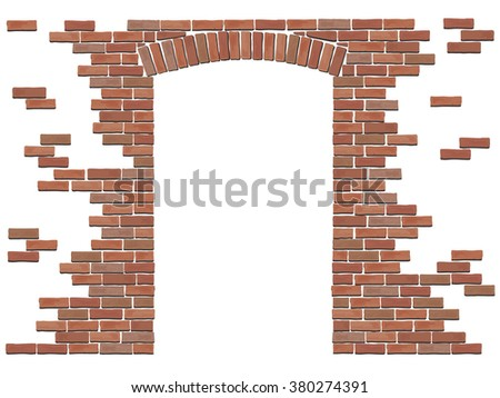Arch in the wall of red brick. Vector isolated elements on white background. - stock vector