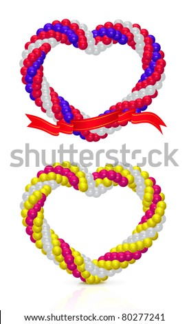 Arch of balloons twisted in a spiral form on white - stock vector