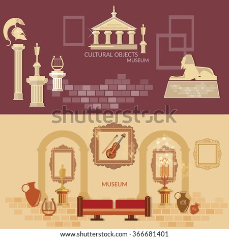 Archaeological museum of antiquity ancient civilizations science exposition flat banners - stock vector