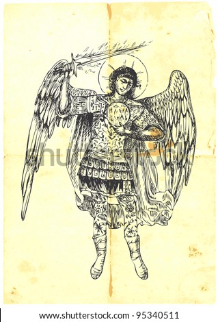 Archangel Uriel Handdrawn With Good Precision Stock Vector 95340511