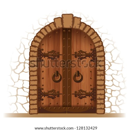 Arched medieval wooden door in a stone wall - stock vector