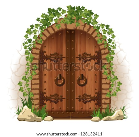 Arched medieval wooden door in a stone wall, with ivy - stock vector